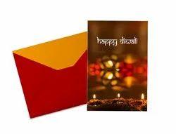 Square Multi Colour Diwali Greeting Card, Size: A5