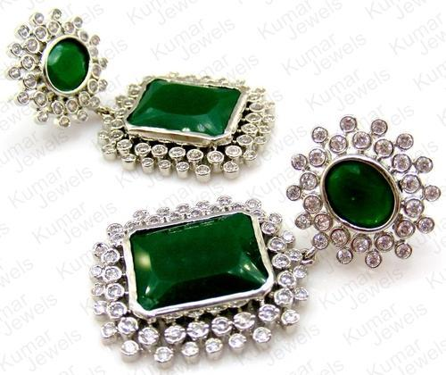 5437a0c8a Engagement And Party Women And Girls Imitation Green Earrings, Rs ...