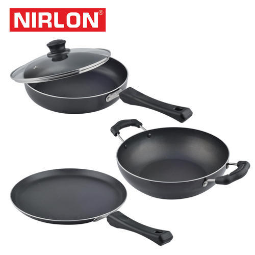 Black Aluminium Nirlon Induction Base Cookware Set, For Restaurant and Hotel