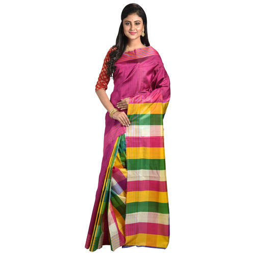 224d91866ab Bengal Silk Multicolour Pure Mulberry Silk Patli Pallu Saree