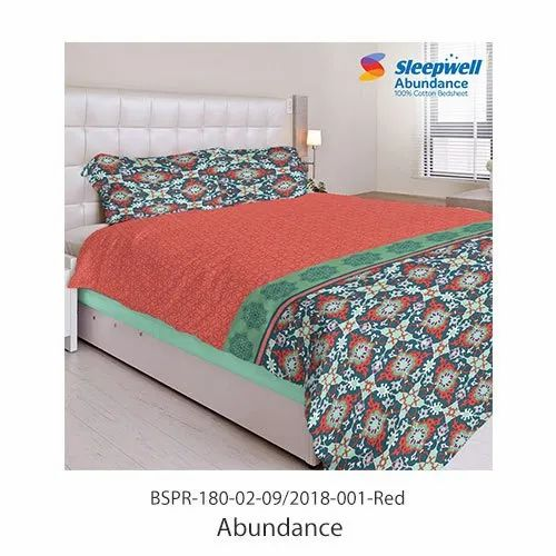 Sleepwell Abundance Cotton Bed Sheet With Pillow Cover