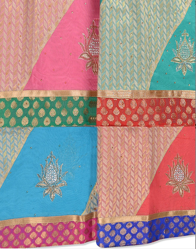 Multi Color Half And Half Designer Cotton Hand Embroidery Sarees Rs