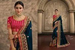 Designer Heavy Wedding Party Wear Embroidery Handwork Sarees