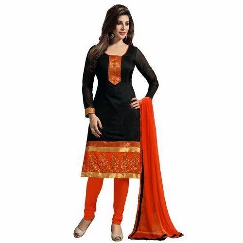 78e6b87d35 Party Wear Cotton Black And Orange Designer Salwar Kameez, Rs 599 ...