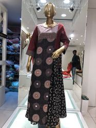 Cotton Round Neck Designer A-Line Kurtis, Size: S, M & L