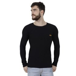 Plain Casual Wear Poly Cotton T Shirt Round Neck Full Sleeve