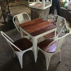 Garud Enterprises Table And 4 Chair Metal Cafe Set, For Restaurant, Size: 90*90*75cm And 45*45*94cm