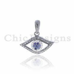 Blue Sapphire Evil Eye Charm Pendant
