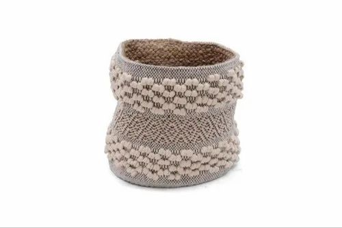 White Moroccan Style Cotton Jute Plant Holder Basket