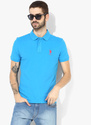 Blue Solid Regular Fit Polo T Shirt