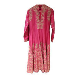 Ladies Pink Full Sleeve Party Wear Suit, Size: S-XL