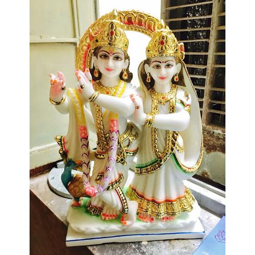 Marble Multi Color God Radha Krishna Statue - Marble Home, Jaipur