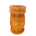 Round Carved Wooden Pen Holder