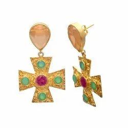 Peach Chalcedony Cross Earring