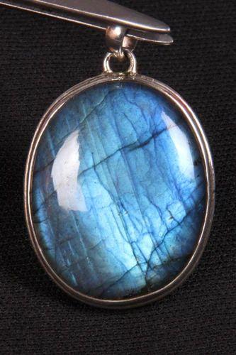 Labradorite With Blue Fire Oval Shape Smooth Cut Pendant  Smooth Shape Labradorite 92.5 Silver Pendant  Gemstone Pendant