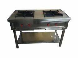 Double Burner Stainless Steel Gas Range