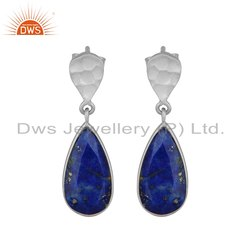 Designer Lapis Lazuli Gemstone Sterling Silver Earrings