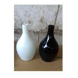 White And Black Glass Vase, Size: 10 Inches