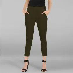 Dark Green Cotton Plain Narrow Pants(BTM030)