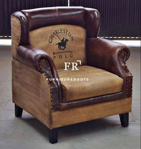 Upholstered Leather Resort Wingback Chairs in Vintage Tub Design for Hotels and Resorts