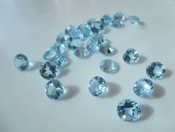 Natural Sky Blue Topaz Faceted Round Loose Gemstone