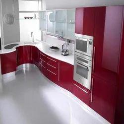 Wooden L Shape Acrylic Modular Kitchen