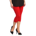 Lycra Cotton Ladies Red Capri, Size: S-xl