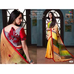 Rachna Linen Silk Patch Work Portrait Catalog Saree For Women 3