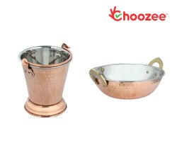 Choozee -Steel Copper Serving Items Set of 2 Pcs (Bucket and Kadhai) (800Ml)
