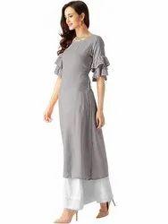 Rayon Plain Bell Sleeves Kurta, Size: S,M,L,XXL