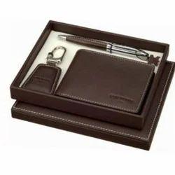 Leather Brown Corporate Gift Wallet, Packaging: Cardboard Box