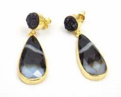 Black Onyx Agate and Black Druzy  Gemstone Stud Earring