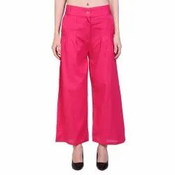 Pink Formal Ladies Cotton Palazzo Pants