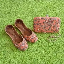 Dabka Motti Jutti With Matching Clutch