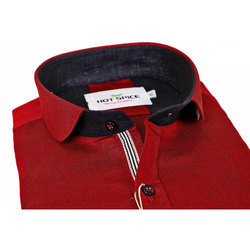 Linen Casual Mens Red Shirt