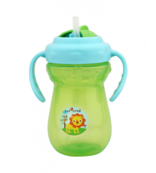 ST-1160 Straw 2 Handle Cup Green & Sky Blue