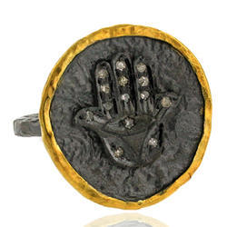 God Hand Silver Diamond Ring