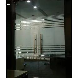 Hinged Interior Toughened Glass Door, For Office, Thickness: 12 Mm