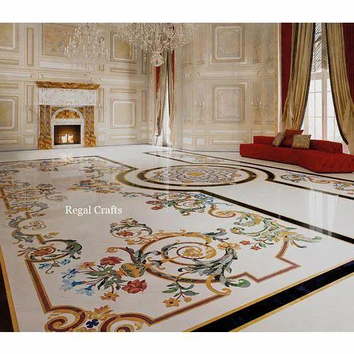 Semi Precious Gemstone Italian Marble Inlay Flooring 12