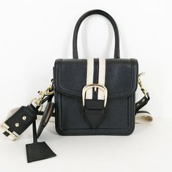 Modern Black Adjustable Strap Leather Hand Bag, Size: 7x7x3 Inch