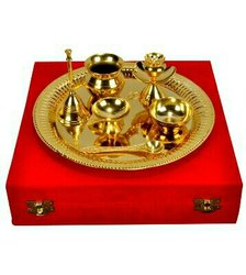 Gold Plated Steel Pooja Thali 9 Diameter with Brass Bell - BG0025