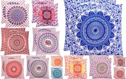 Ombre Mandala Hand Screen Printed Cotton Cushion Cover