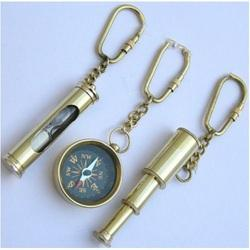 Compass Telescope and Sand Timer Key Chain