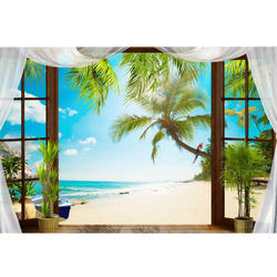 3D Window Landscape Wallpaper