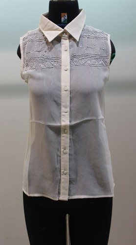 f038efd7b9ecc Ladies Polyester Sleeveless Cream Embroidery Shirt