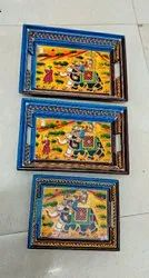 Wooden Mughal Painting 3 Piece Tray Set