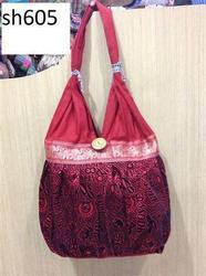 Pink Printed Stitched Cotton Fabric Shoulder Bag