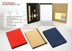 B90 - 3 Fold Notebook With Wooden Stationary Set