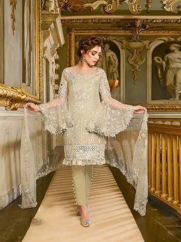 Off White Pakistani Georgette Embroidered Pakistani Salwar Suit