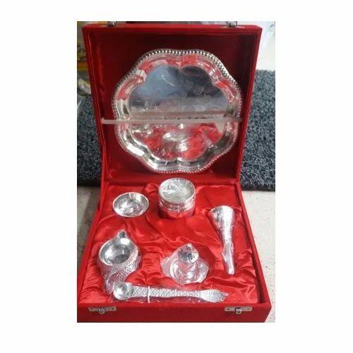 Silver Plated Pooja Thali Set  sc 1 st  IndiaMART & Silver Plated Pooja Thali Set at Rs 1000 /box   Silver Plated Pooja ...